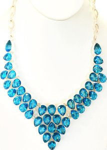 Fabulous Royal London Blue Topaz Statement Bib 925 Sterling Silver Necklace