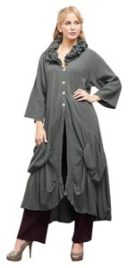 Oh My Gauze! Boho Duster Cotton Festival Bohemian Button Down Shirt Steel
