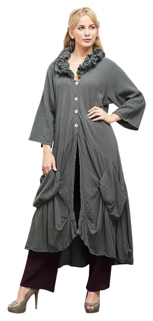Item - Steel Funky Boho Royal Duster Grey New Os Fits Most Roomy Button-down Top Size 18 (XL, Plus 0x)