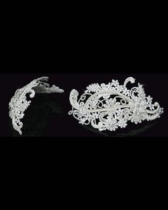 Vintage Inspired Venetian Lace & Crystals Headpiece