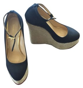 Charlotte Olympia Black canvas and jute. Wedges