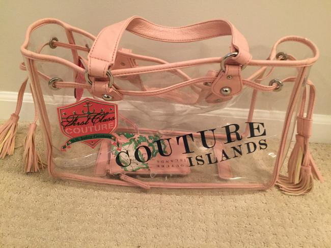 Item - Pink Plastic and Leather Beach Bag