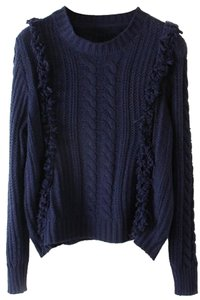 OASAP Long Sleeve Blue Knit Cable Sweater