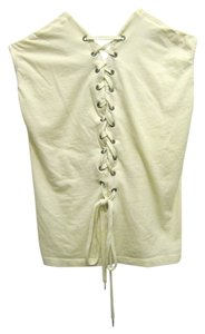 H&M Lace Up Shoelace Back T Shirt Ivory