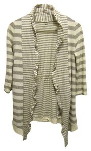 Three Dots Hi Lo Striped Ruffle Open Cardigan