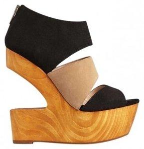 DV8 by Dolce Vita Julia Wedge Wood Cutouts Zip Architectural Heels black and taupe Platforms