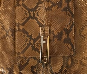 Fendi Crocodile Leather Vintage Party Classic Brown and Tan Clutch