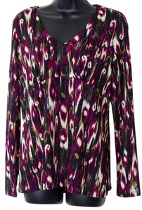 Dana Buchman Size Small Patterned Empire Waist Top Multi-Color