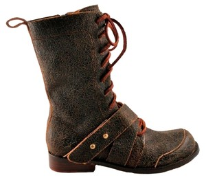 Gee WaWa Bootie Edgy Distressed Tumbled Chocolate Boots
