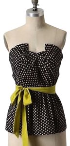 Anthropologie Black with blush polka dots and lime sash Halter Top
