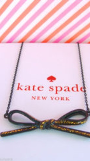 Kate Spade Kate Spade New York Black Skinny Mimi Glitter Bow Necklace
