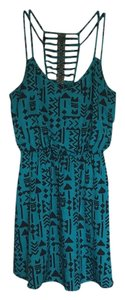 Trixxi short dress Teal blue with black accents on Tradesy
