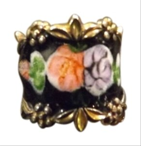 Antique Flower Ring Vintage Enamel Sterling Ring