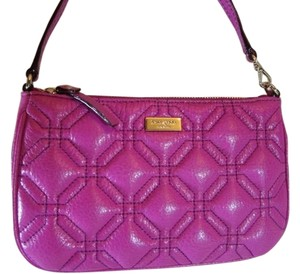Kate Spade Elegant Evening Party Quilted Leather Quilted Wristlet in Pink