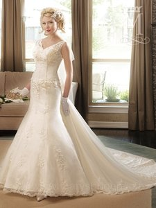 Mary's Bridal Ivory / Multi Re-embroidered Lace/Tulle P.c. 6226 Formal Wedding Dress Size 10 (M)