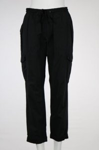 Joie Cargo Cropped Cotton Cargo Pants Black