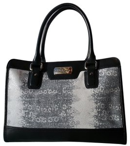 Cole Haan Leather Carrington Silver Hardware Shoulder Strap Tote Handles Brushed Glazed Leather Satchel in Storm Cloud/Black
