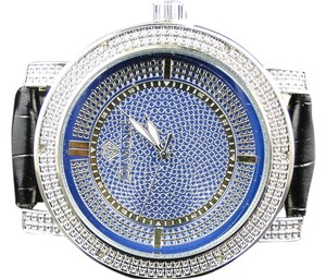 Mens Diamond Master Diamond Max Row Blue Face Real Diamond Watch 0.06 Ct