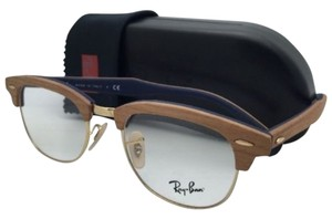 Ray-Ban New RAY-BAN CLUBMASTER WOOD Rx-able Eyeglasses RB 5154-M 5559 Cherry Wood on Blue Frames