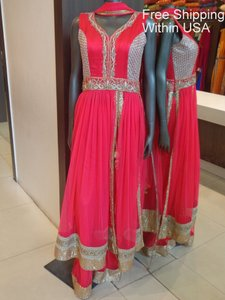 Coral Coral Anarkali Bollywood Indian Designer Partywear Dress And Palazzo- Ships Free Dress