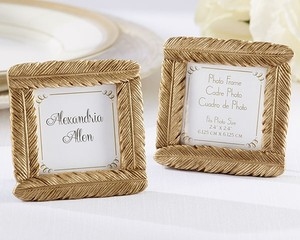 100 Gold Feather Frame Place Card Holders - Wedding Favors