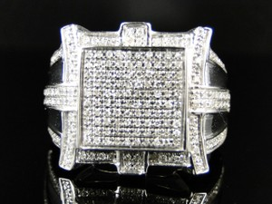 Mens White Gold Finish Square Shaped Diamond Ring .65ct