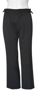 Gucci Stretch Belt Silk Wool Trouser Pants Gray