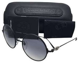 Chrome Hearts New CHROME HEARTS Sunglasses OVARYEASY MBK-P Matte Black Round Frame w/ Gray Gradient Lenses