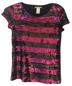 Alice + Olivia Top Fuchsia and black