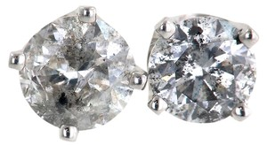 ABC Jewelry Diamond Stud Earrings Round Not Enhanced .98tcw H-i1 14k White Gold Made In USA