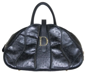 Dior Christian Ostrich Silver Tone Hardware Leather Handbag Shoulder Bag