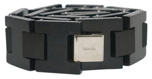 Prada Dark Brown Wood Link Silver Buckle Logo Belt