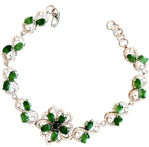 Natural Emerald and AAA Zirconia Flower Tennis Bracelet