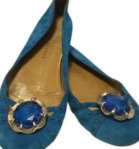Marc Jacobs Suede All Leather Turquoise Flats