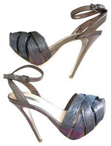 Halston Strappy Stilletoes Metallic Sandals