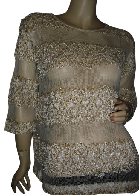 Item - Beige & Gold Fashion Show Mall Las Vegas with @ Fashionista Style Boutique Blouse Size 6 (S)