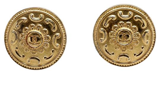 "Chanel Chanel Vintage Gold Plated Round Flower Double ""C"" Earrings"