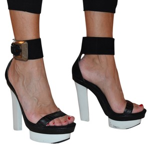 Brian Atwood Ankle Strap Braganca Black and white Platforms