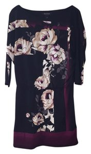 White House | Black Market short dress Black, tan, purple floral on Tradesy