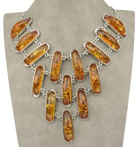 AFRO-FUSION BIB STYLE, NECKLACE, FASHION HAND MADE JEWELRY, AMBER IMITATION BEADS