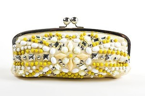 Chloé Chloe Cream Yellow Silver Multi-Color Clutch