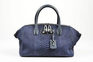 VBH Blue Sueded Python Satchel in Indigo