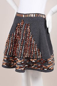Kenzo Gray Metallic Bronze Skirt Multi-Color
