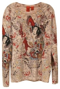 A&G by Amal Guessous Kabuki Print Art Cashmere Sweater