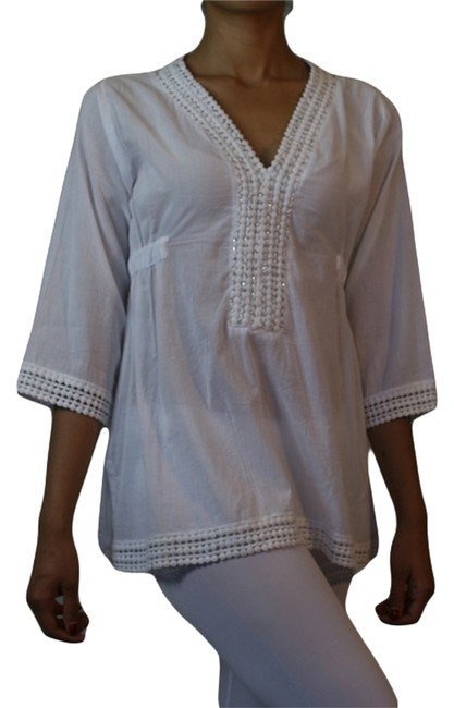 Item - White/Silver Macrame Blouse Womans Blouse African Style Cotton Blouse Tunic Size OS (one size)