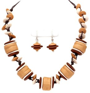 AFR WOOD MARSHMALLOW AND DISCS STYLE BEADS, NECKLACE AND EARRINGS SET