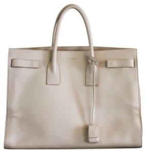 Saint Laurent Leather Handbags Zipper Tote in Beige