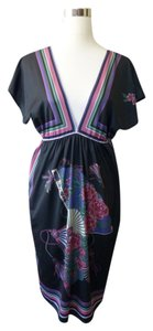 Flying Tomato short dress Mauve Black Floral Geisha Fan Bohemian on Tradesy