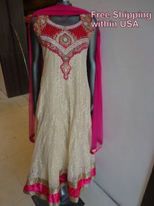 Beige And Hot Pink (Magenta) Beige Majenta Anarkali Bollywood Indian Designer Partywear Dress - Ships Free Dress