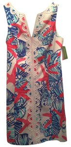 Lilly Pulitzer short dress White, Blue, Red She She Shells Shift Janice Preppy Cute Seashells on Tradesy